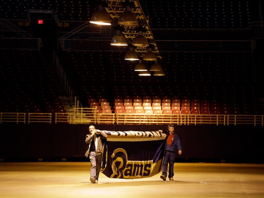 The Rams' 1999 Super Bowl championship banner was removed