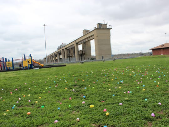 The sky was gray, but the grass was colorful with lots of Easter eggs, thanks to the Newburgh American Legion