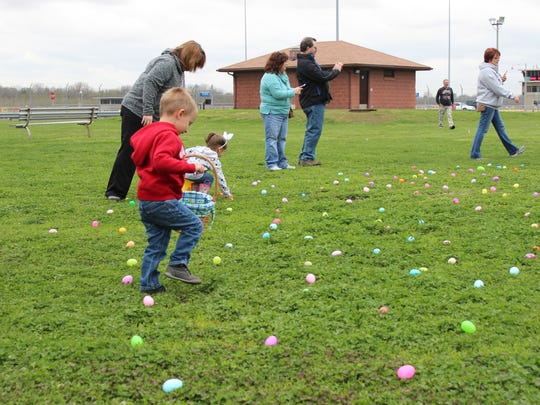 Alexander Powell, 3, was all pumped up for the Easter egg hunt on Saturday