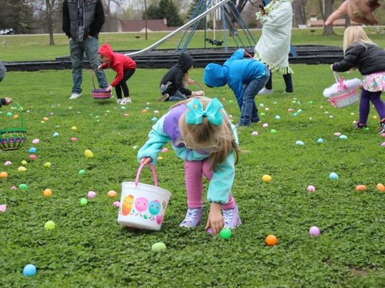 Ella Downs, 5, was partial to the pink and purple eggs