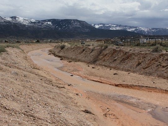 During a flood mitigation project, water is diverted