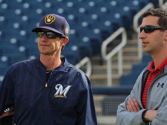Brewers General Manager David Stearns and Manager Craig
