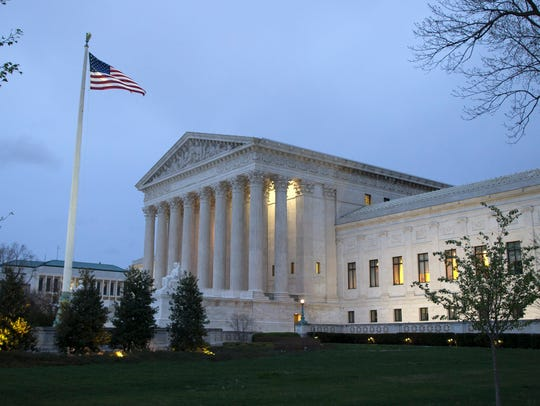 The Supreme Court at dawn in Washington on April 7,