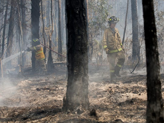 Firefighters with the Florida Forest Service, the Greater Naples Fire Department and the North Collier Fire Department work to contain a 3-acre brush fire along Mahogany Ridge Drive Tuesday, April 11, 2017, in Naples. By midafternoon the fire was reported to be 100 percent contained.
