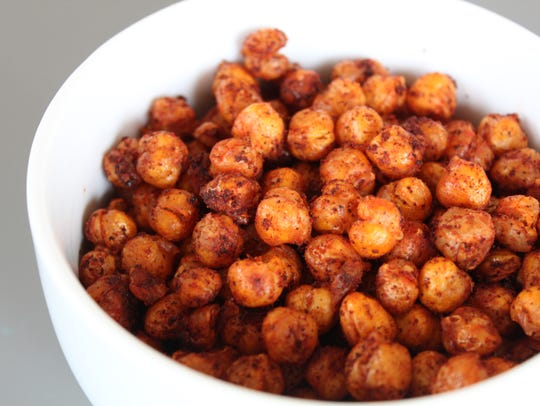 Crispy Roasted Chickpeas flavored with smoked paprika