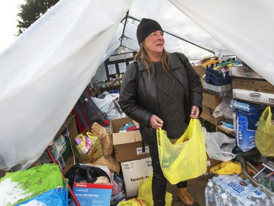 Cathy R., a homeless camper who lives elsewhere in