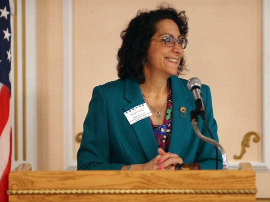 Highlands District of the New Jersey State Federation of WomenÕs Clubs (NJSFWC) of GFWC Vice President Barbara McClosky speaks during the annual Spring Conference and Achievement Day at the Zeris Inn. April 12, 2017, Mountain Lakes, NJ