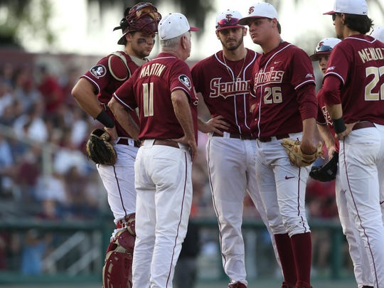 FSU Head Coach Mike Martin comes out to pull Cole Sands in the second inning against Clemson at Dick Howser Stadium on Saturday, April 15, 2017.
