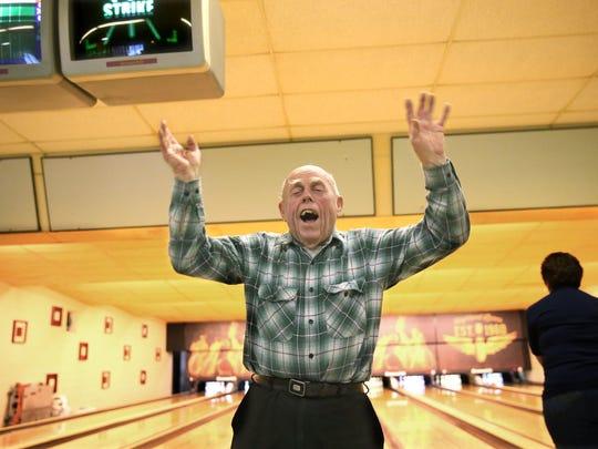 Chet (Clarence) Worzala of Milwaukee celebrates his