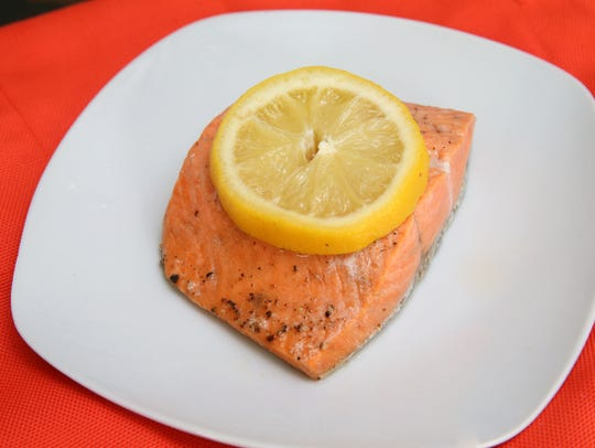 The finished salmon fillet, ready to be served.