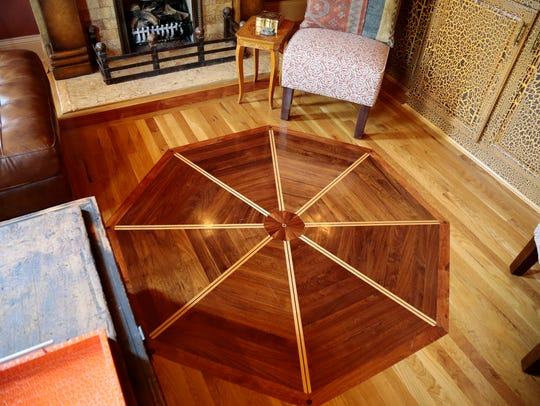 The custom floor in an upstairs living room at the