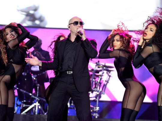 Pitbull performs to a sold-out crowd at the American