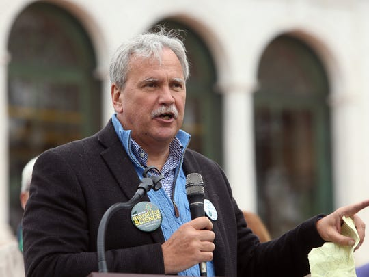 Jeff Tittel, Director of the New Jersey Sierra Club speaks during the Earth Day rally at Vail Mansion in Morristown, held to urge Congressman Rodney Frelinghuysen to stand by his promise to preserve open space and protect the environment and stop the devastating cuts to the EPA proposed by the Trump administration. April 22, 2017, Morristown, NJ