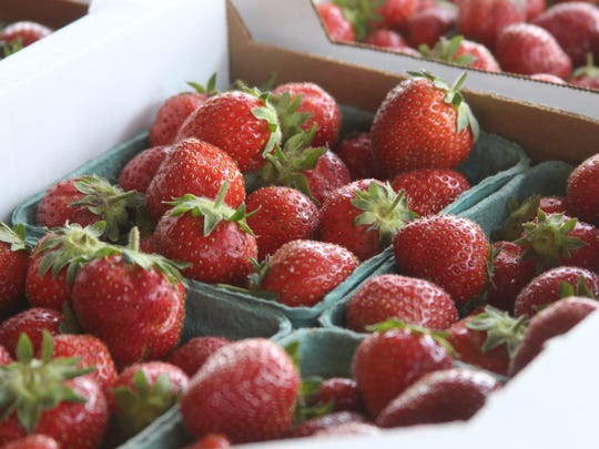 Fresh strawberries at The Crib produce seller in Clarksville.