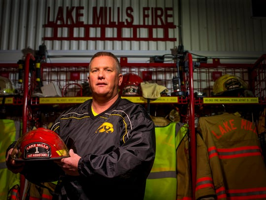 Scott Hagenson is pictured at the Lake Mills Fire Department Lake Mills, Iowa, on March 30, 2017.