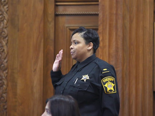 Milwaukee County Sheriff's Department Lt. Kashka Meadors in court testifying in the inquest into the death of Terrill Thomas.