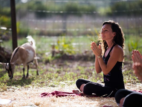 Mary Burgess, owner of Good Fortune Farm in Lehigh Acres, holds her hands together during barnyard yoga Sunday, April 30, 2017. Participants practiced an alignment-focused yoga surrounded by goats and chickens.