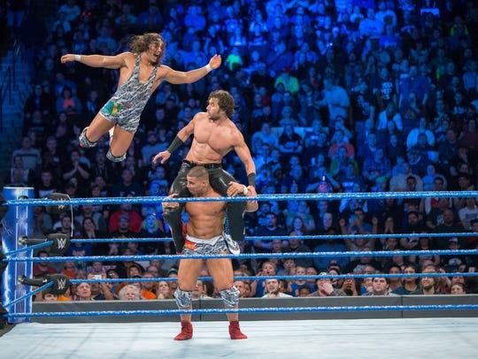 Chad Gable (in air) and Jason Jordan (bottom) were