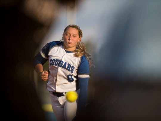 Barron Collier's Tori Sutherland pitches against Mariner during the Class 6A regional quarterfinal at Barron Collier High School Wednesday, May 3, 2017 in Naples. Barron Collier would go on to advance with the win defeating Mariner 3-0.