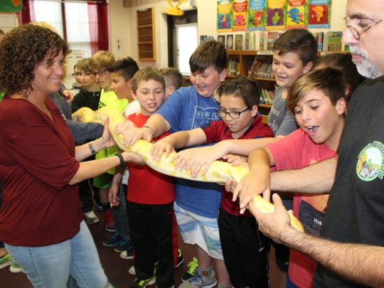 Woodland School paraprofessional Amy Hold (L) and 5th graders snuggle with Burmese python Popcorn from Rizzo's Wildlife World, one of the many activities on Science Day on April 21. Students (from far left to right): Giovanni Russo, Aydan Ohlson, Joseph Piegaro, Luca Goncalves, Dylan Downey, Jackson Scala, Lance Garcia, Gavin Segerson, Anthony DeLuca.