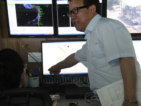 ATISA project manager Sean Lim explains the planned cable path from Guam through the CNMI during a tour on Frida, May 5, 2017.