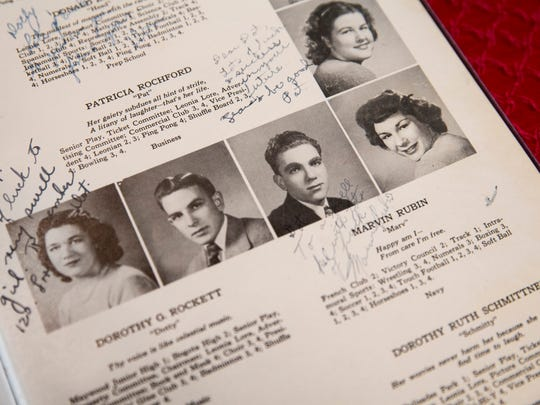 Dorothy Friedenreich's, pictured far right, Leonia High School Class of 1946 yearbook lays open on the table at her home in Naples on Friday, May 5, 2017. The New Jersey class has reunited every 5 years since 1946, with 7 of the remaining 13 alumni making the trip to Naples this year for their 71st reunion.
