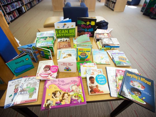 Books for the Storybook Project, a volunteer program that keeps incarcerated parents and their children connected through reading at the Iowa Correctional Institution for Women in Mitchellville Tuesday, April 11, 2017.