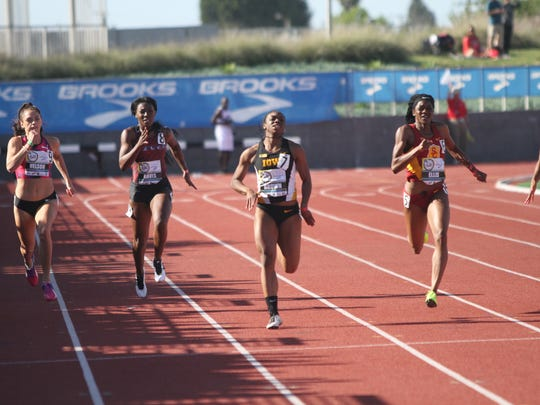 Brittany Brown (center) had a breakthrough moment at the Mt. Sac Relays last month, outpacing a pair of Olympians to finish fourth in the 200 meters in 22.69 seconds.