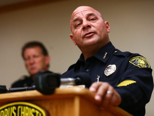 Corpus Christi Police Chief Mike Markle speaks during