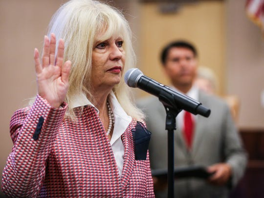 Brenda Gunter is sworn in as mayor during the San Angelo City Council meeting Tuesday, May 16.