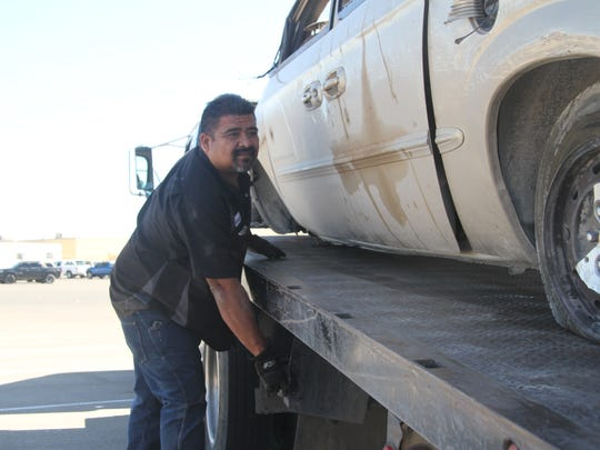 Adolfo Olivas of JK Auto and Diesel LLC helped stage the DWI scene at the high school. Olivas said he receives to tow a vehicle from an accident every other day in Eddy County