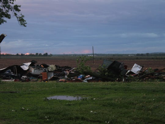Storm damage to a shed along Iowa Highway 212 west of Marengo.