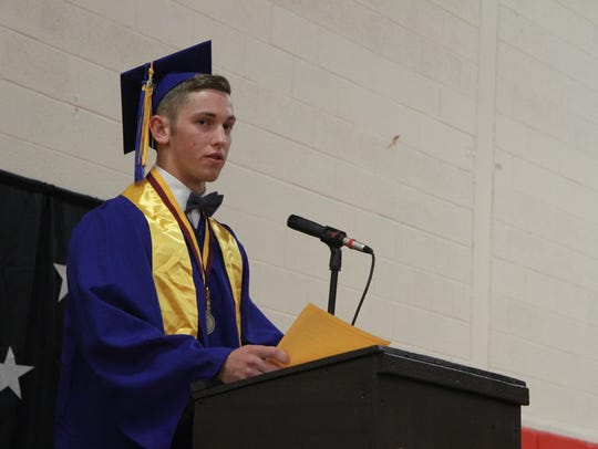 Valedictorian Nathan Brown speaks at graduation.