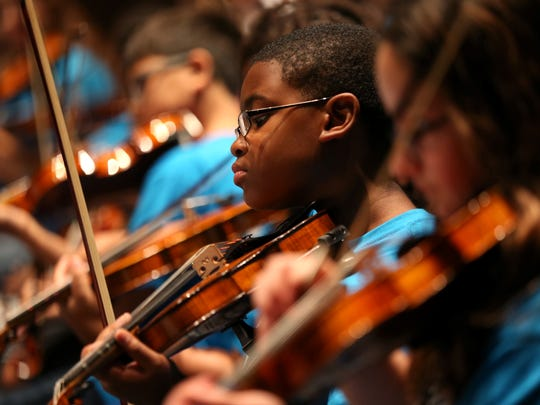 """The Tallahassee Symphony Orchestra performed with a packed house of nearly 1,200 fourth grade students from Leon County Schools at the Ruby Diamond Concert Hall Tuesday, May 23, 2017. The event, entitled """"Link Up"""", is part of an international program pairing local orchestras with elementary schools for music education."""
