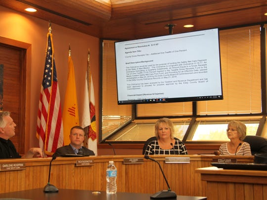 Eddy County Manager Rick Rudometkin (left) comments on proposed gross receipt tax (GRT) increases Thursday at a special meeting held at the Eddy County Administration Complex.