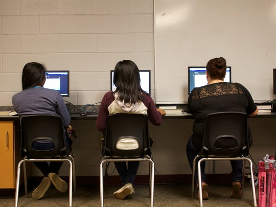 Students complete coursework in the virtual learning lab of West Gadsden High, 30 miles outside of Tallahassee, Florida.