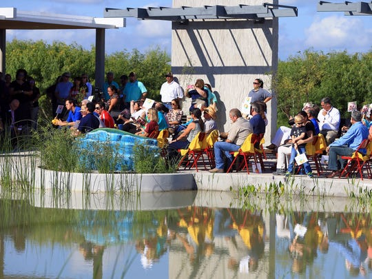 People gather during the ribbon cutting for the Oso Bay Wetlands Preserve & Learning Center on Friday, June 10, 2016, in Corpus Christi.
