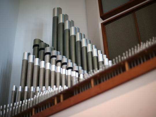 The pipe organ at East Hill Baptist Church, where Darwin Klug is working on a three-year restoration project to keep the 50-year-old instrument going. Clug, whose father was an organist, partners with many local Tallahassee churches to keep them filled with sound during Sunday services.