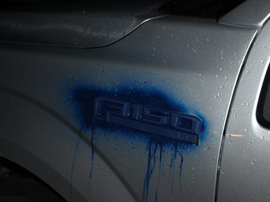 This vehicle was spray-painted blue during a string of vandalism in Canton.