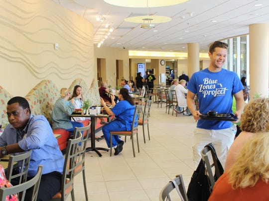 NCH Healthcare System employees enjoy healthy foods endorsed by the Blue Zones Project.