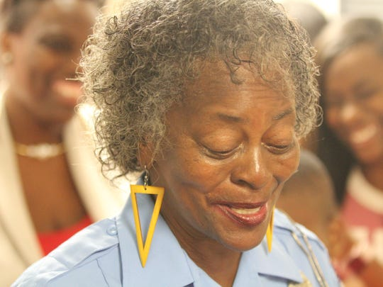 Rosa Flowers worked in Griffin Middle School's cafeteria for 30 years before becoming the school's crossing guard. She retired after 28 years  Tuesday.