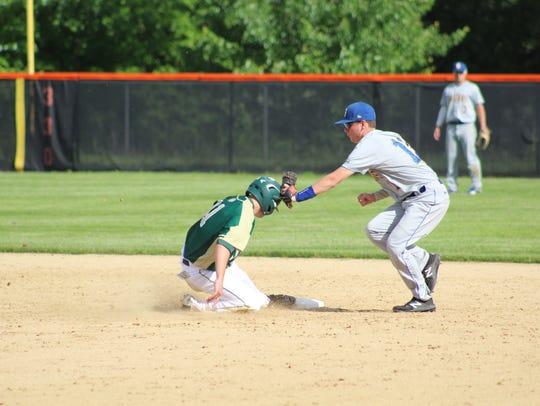 Vestal's Matt McAllister steals second base during