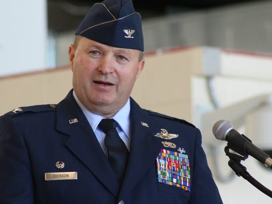 Incoming Commander Col. Buel Dickson addresses the