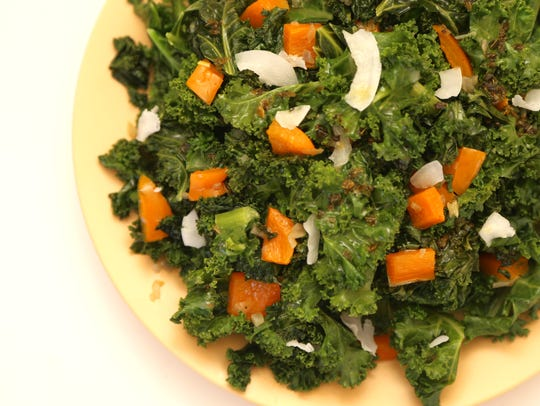 Wilted Kale Salad with Coconut Water Vinaigrette made