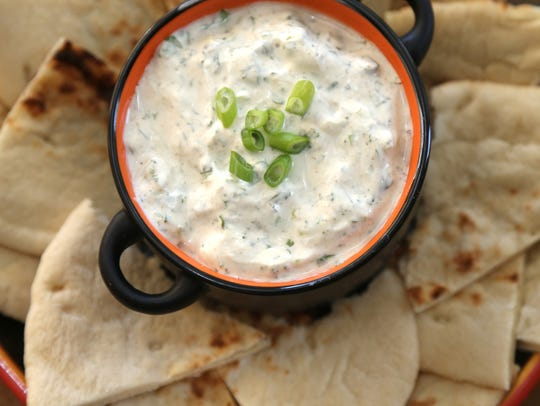 Indian raita with naan made by Robin Miller at her