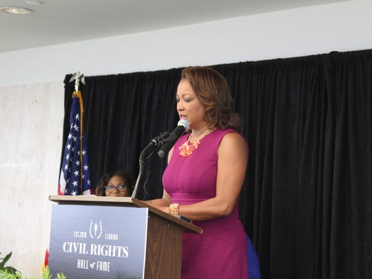 First black lieutenant-governor of Florida Jennifer Carroll delivers a speech.