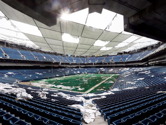 In May 2014, the interior of the Pontiac Silverdome,