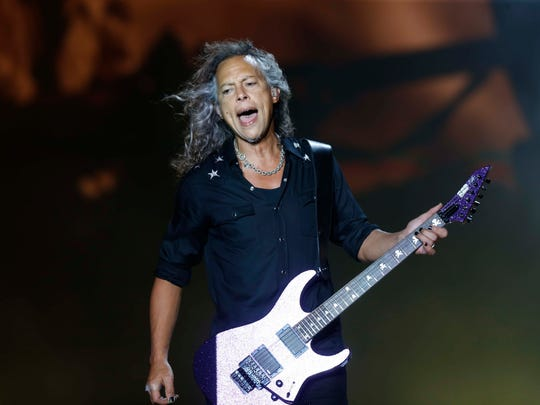 Lead guitarist Kirk Hammett performs with Metallica Friday, June 9, 2017, at the Iowa Speedway in Newton.