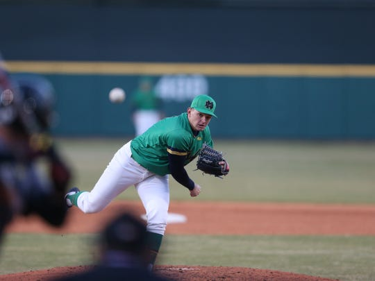 University of Notre Dame junior right-hander Brandon Bielak pitches against Maryland this year.