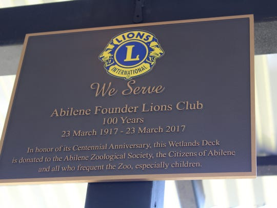 A plaque honoring the Abilene Founder Lions Club and
